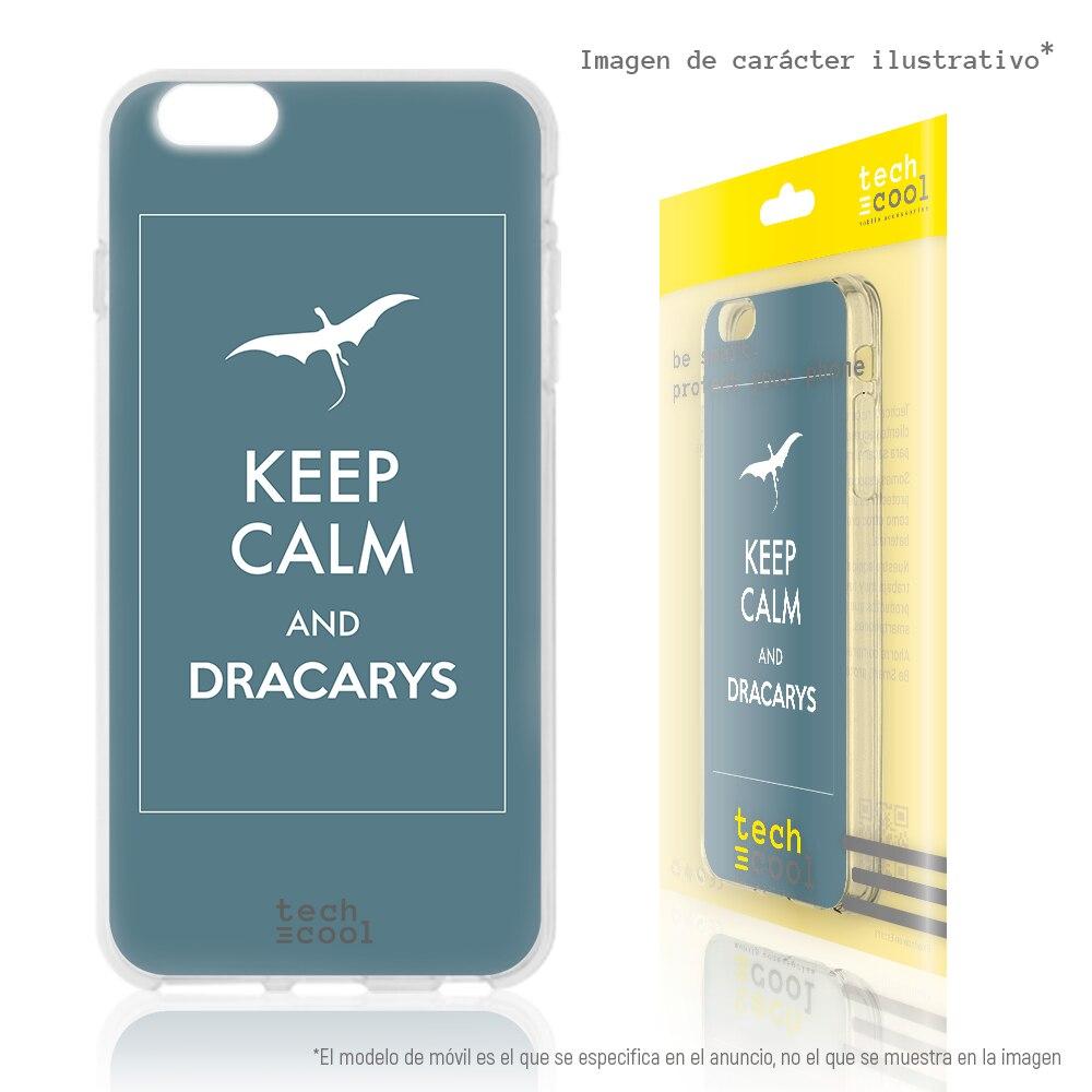 "FunnyTech® Funda Silicona para Samsung Galaxy S8 Plus l Diseño Keep Calm ""Dracarys"" fondo Azul"