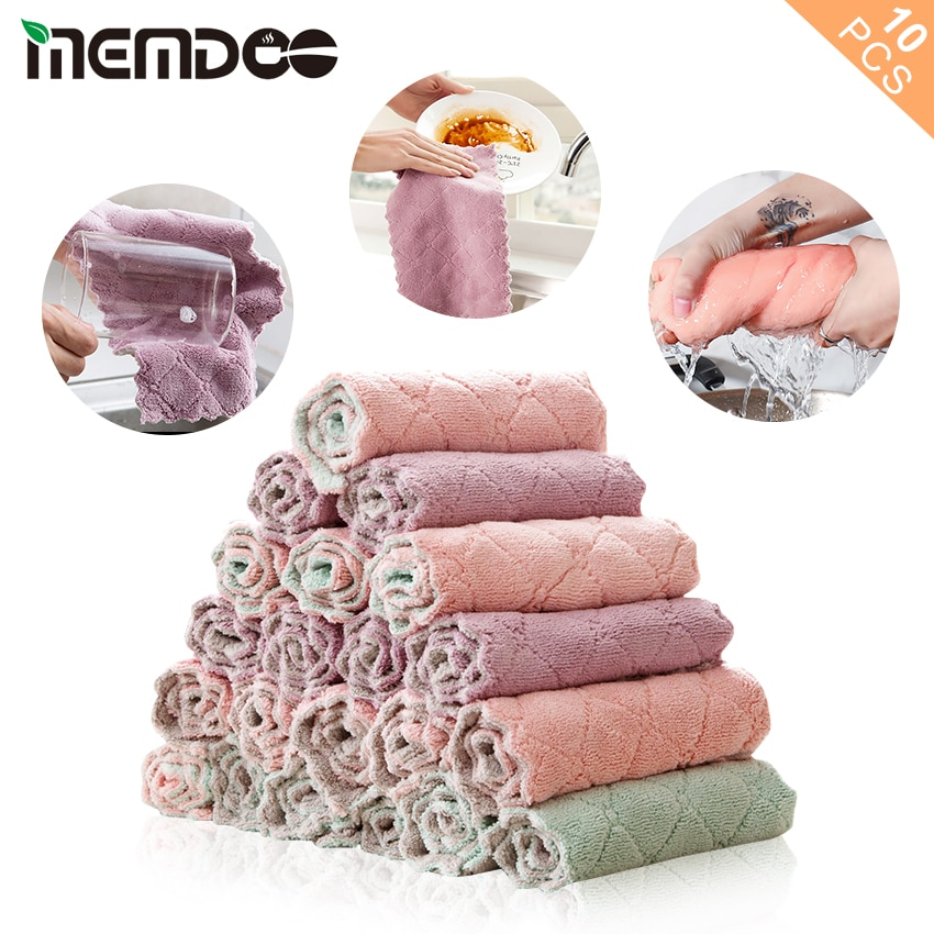 MEMDOO 10 unids/set, plato de cocina, plato de tela, toalla de limpieza del hogar, de doble capa paño de cocina, microfibra súper absorbente