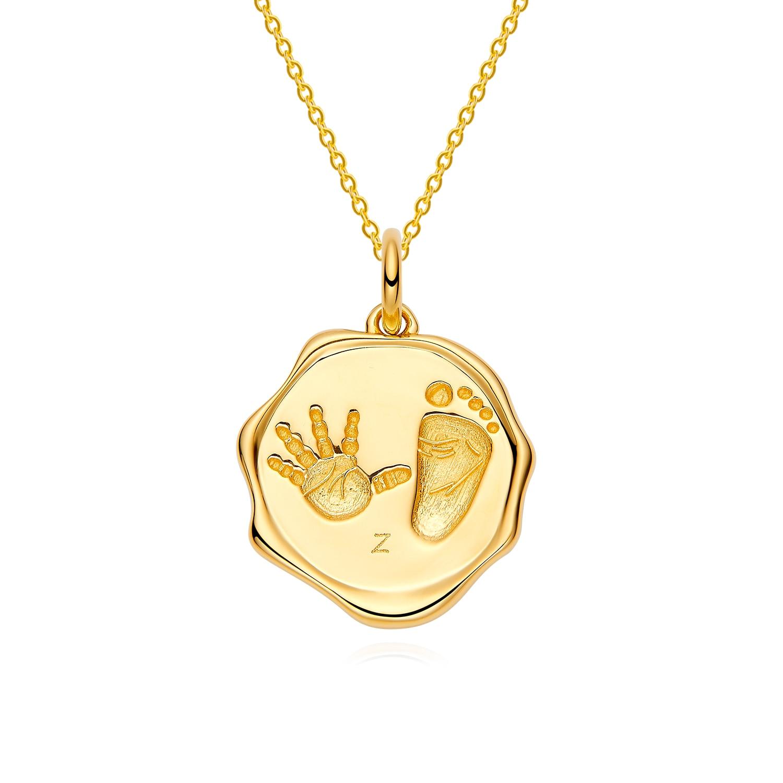 18K Gold Baby Custom Made Irregular Handprints Footprint Necklace