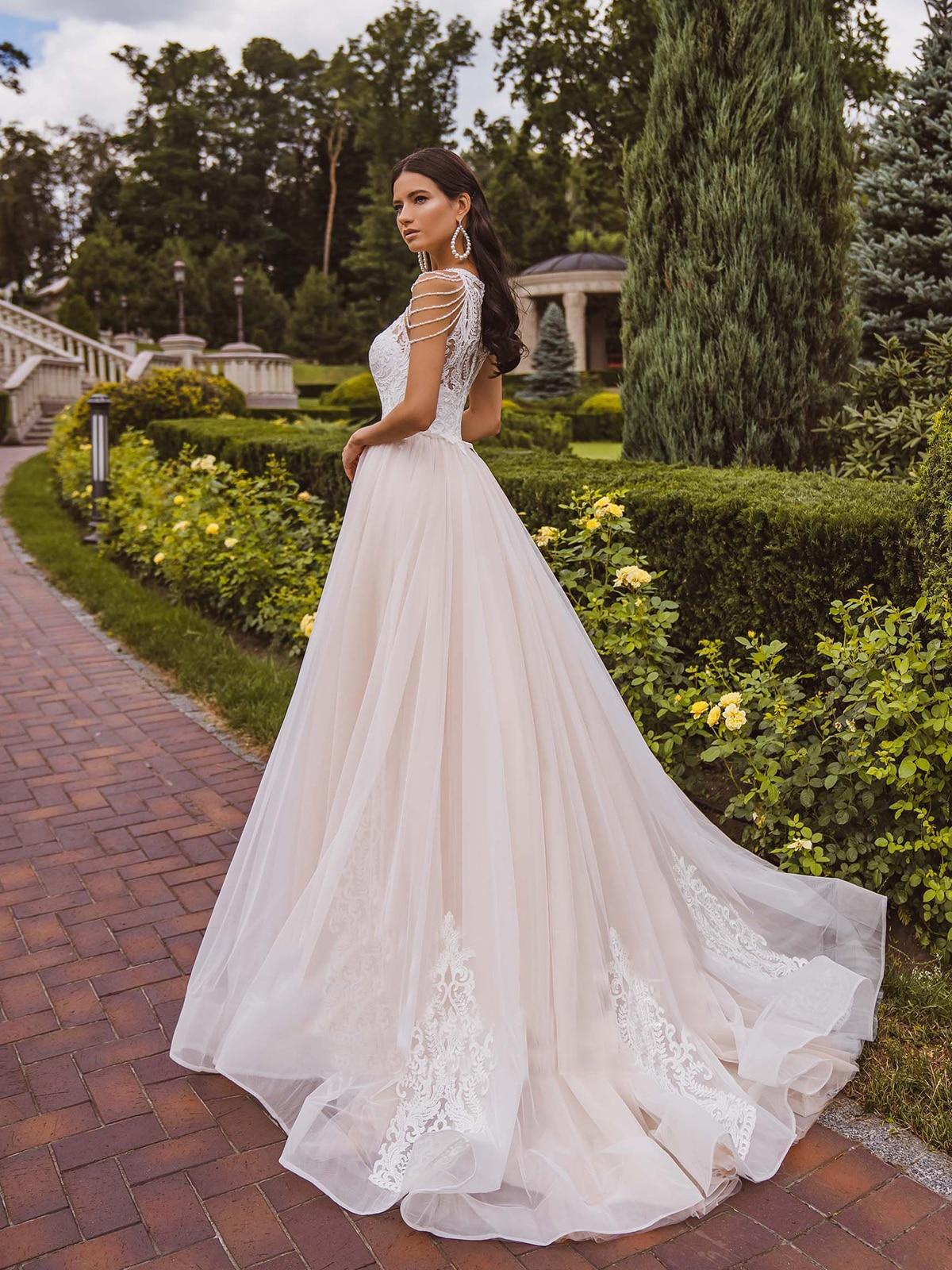 Get Halter Applique Lace Bead Outdoor Wedding Dress Tassels 2021 Blush Pink Photography Bridal Gown Custom Made Vestido De Noiva
