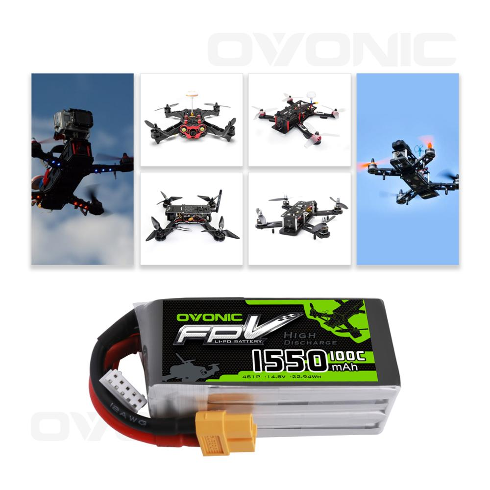OVONIC FunFly 4S 1550mAh 100C 14.8V LiPo Battery Pack with XT60 Plug for RC Boat Heli Airplane UAV Drone FPV enlarge