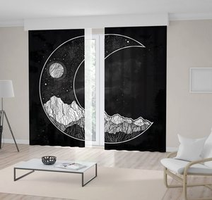 Curtain Mountains Full Moon and Stars Night Sky in Crescent Shape on Dark Background Mystic Artwork Black White