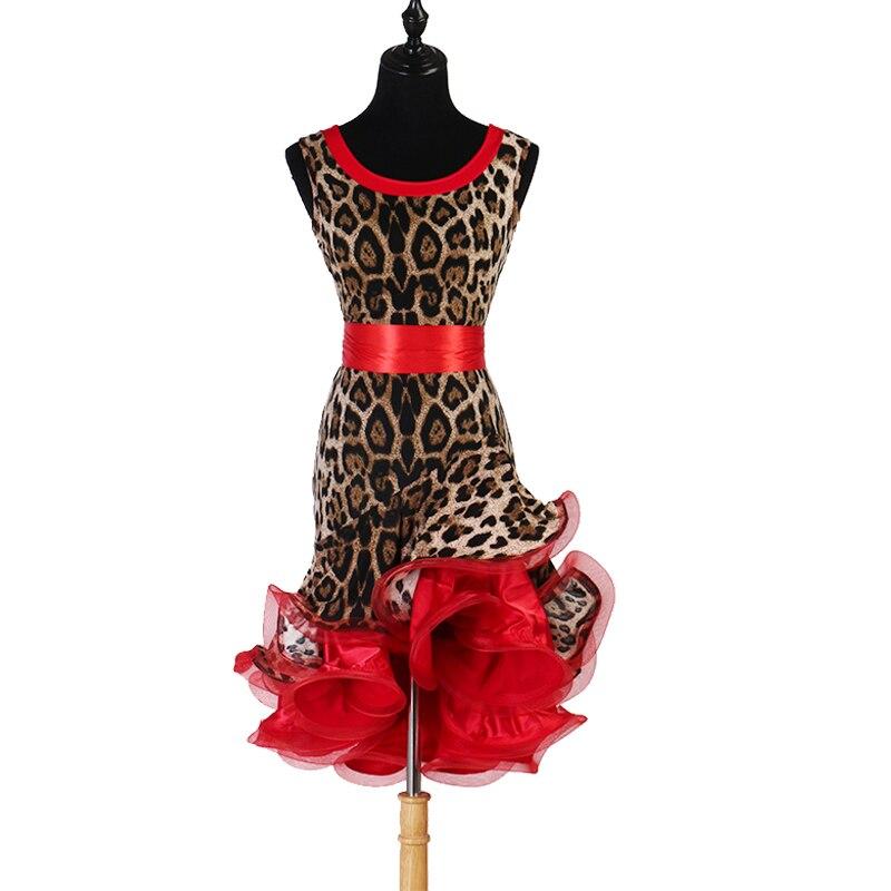 Leopard print latin kleid salsa kleid latin kleid spitze frauen polka dot print latin dance kleid für mädchen lq138