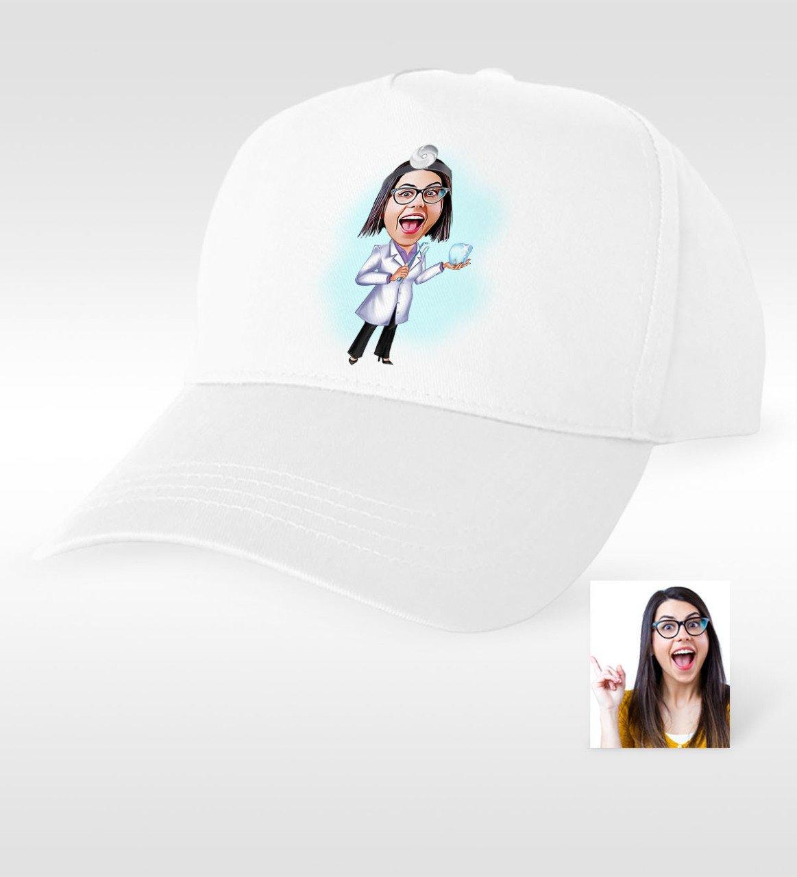Personalized Women S Dentist Cartoon White Hat-1