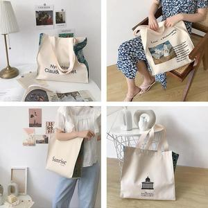 Women Canvas Shoulder Bag Love Philosophy Daily Shopping Bags Oil Painting Books Bag Thick Cotton Cloth Handbags Tote For Ladies