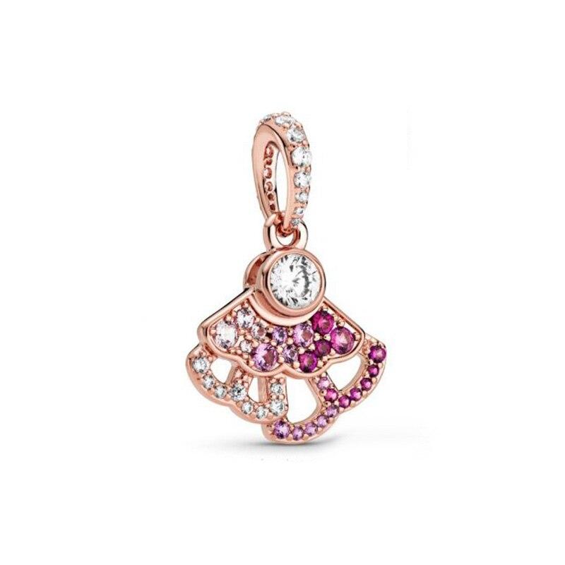 2020 nova chegada china exclusivo rosa rosa fã balançar charme caber pandora pulseira original para as mulheres jóias diy