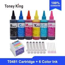 Toney King T0481 cartouches dencre à colorant pour Epson stylet Photo R200 R220 R320 R340 RX500 RX60 imprimante + bouteille dencre pour 6 × 100ml