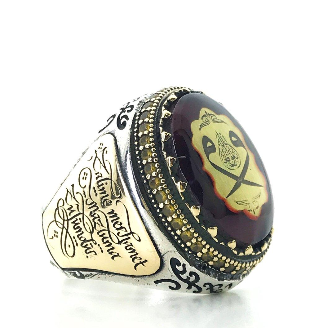 Amber and Ruby Stone Double Vav Custom Silver Men S Ring