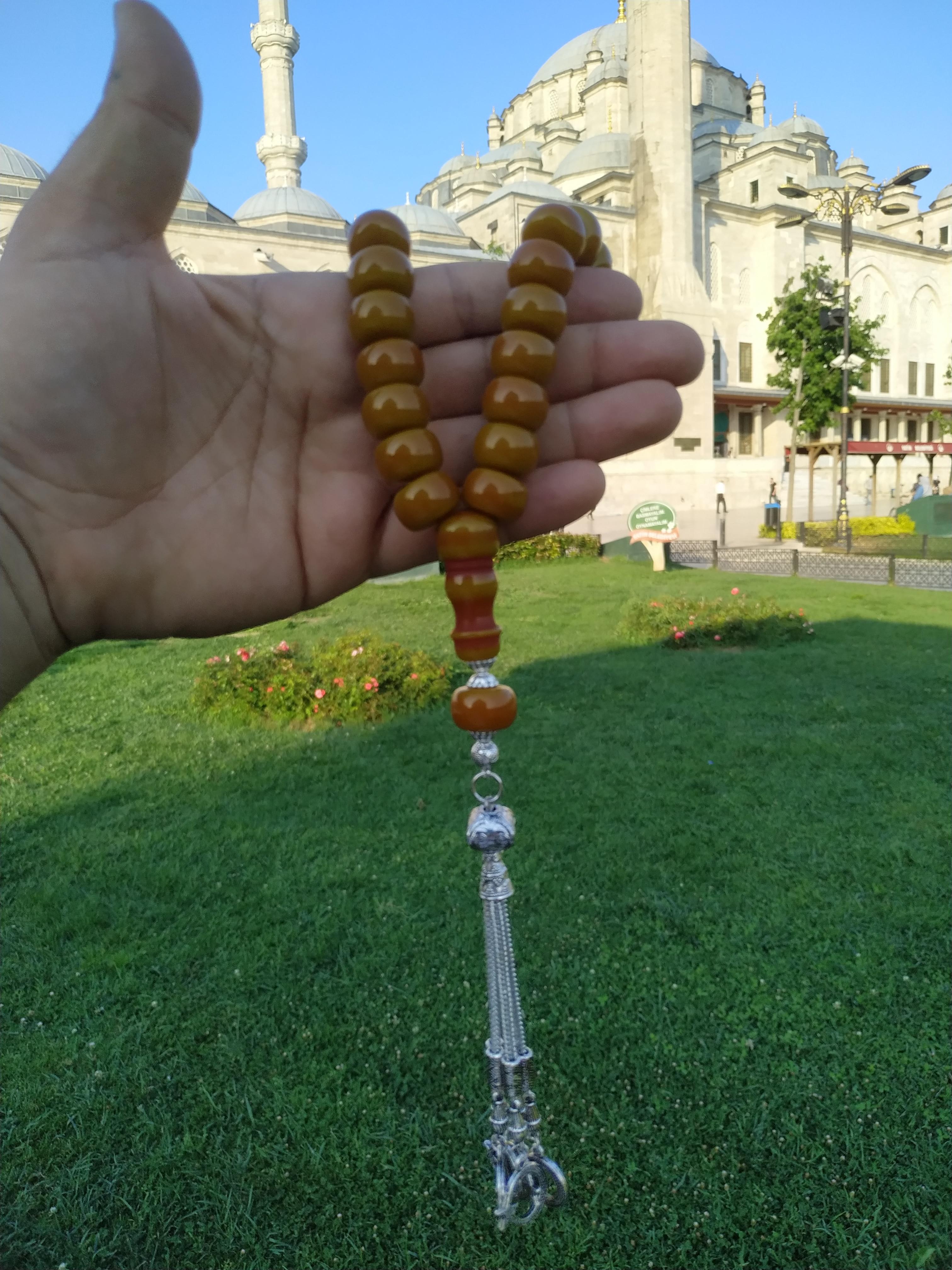 Ottoman Faturan German Amber Sandalous Misbaha Prayer Beads Islamic Gift Tasbih Tasbeeh Tasbeh Rosary Tasbih # 31B