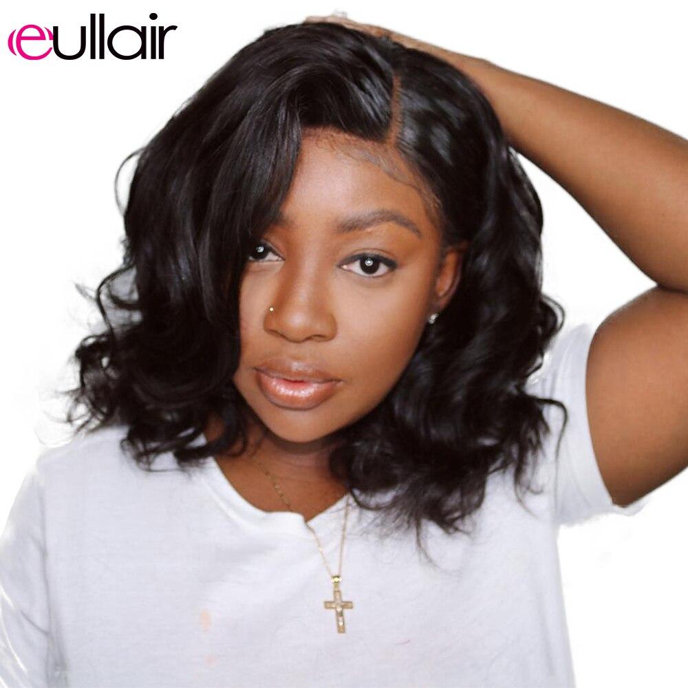 Eullair corpo onda bob peruca 13x6 frente do laço perucas de cabelo humano curto bob 360 rendas frontal perucas remy pré arrancadas para preto