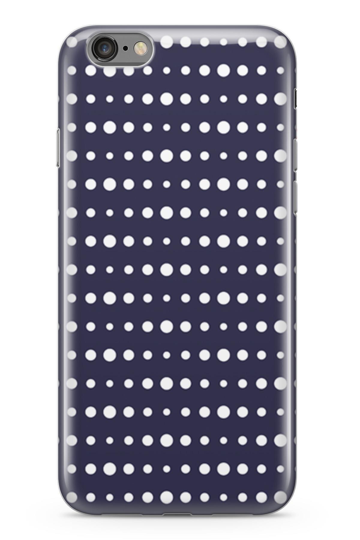 Funda Lopard para Apple iPhone 6 6S, carcasa protectora de silicona, funda trasera azul marino con patrón de lunares