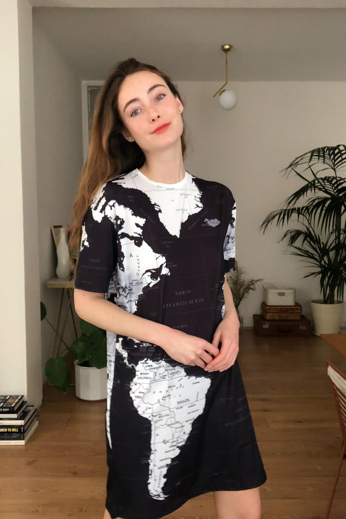 Trendyol mapa impresso vestido de malha twoss20el2805