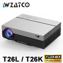 WZATCO T26L 4K Full HD 1080P LED projektör 1920x1080P Android 9.0 WIFI AC3 200 inç 5500 lümen Video projektör ev sineması