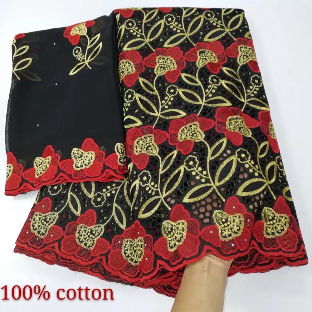 Nuevos diseños de encaje de algodón suizo africano Fbaric con bufanda de gasa a juego algodón nigeriano encaje material de tela para vestido 5 + 2 yardas
