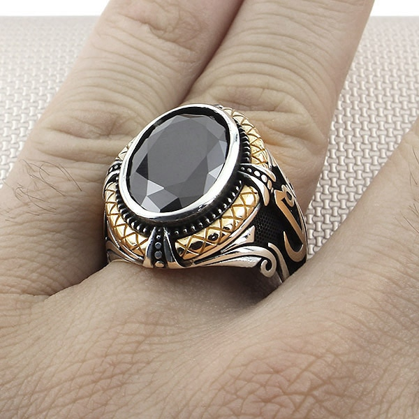 925 Sterling Silver Mens Ring with Oval Green Zircon Raw Gemstone with Arabic Elif Vav Letters Jewelry Gift for Husband for Dad