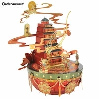 microworld 3d metal puzzle kits gansu chinese featured city mini world jigsaw metal laser cut puzzle assemble toys for adult