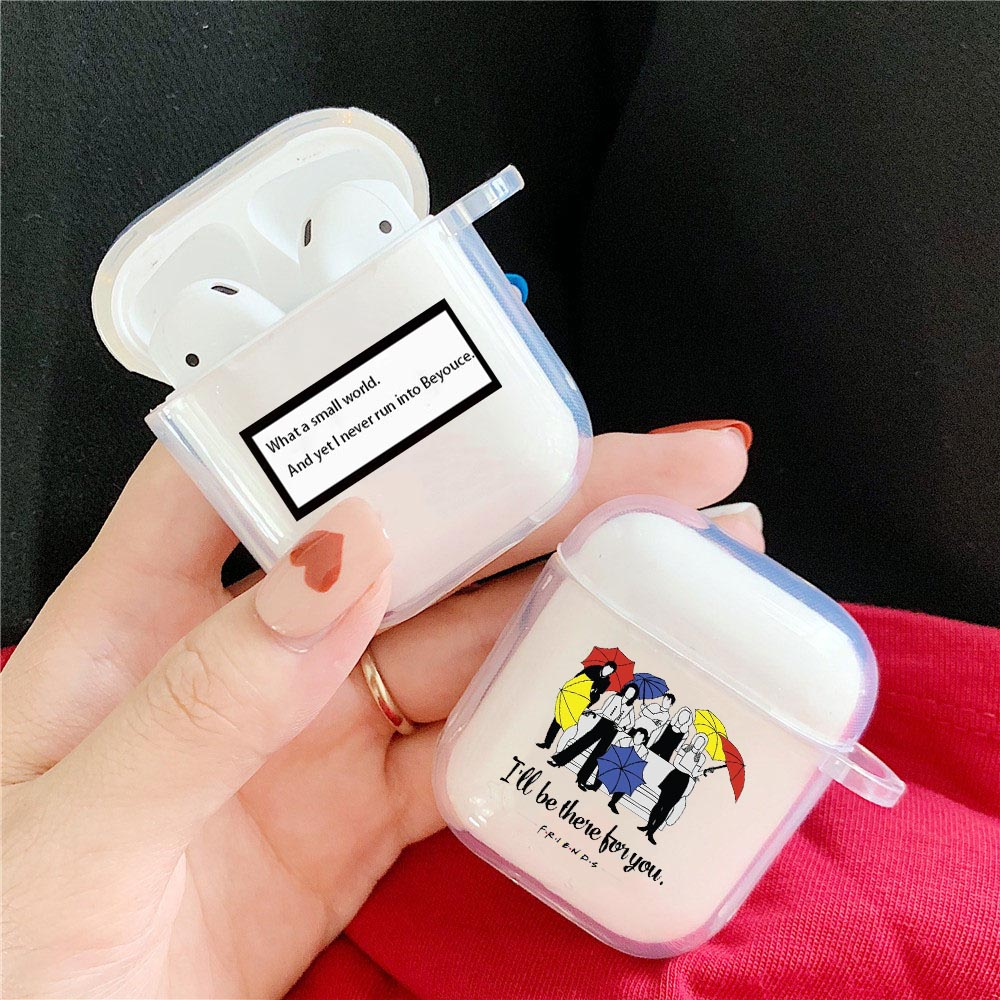 Para funda de Airpods cubierta protectora mejor amigos TV Show Chandler Muriel Bing sátira claro funda de TPU para Apple Airpods 1 2 cápsulas