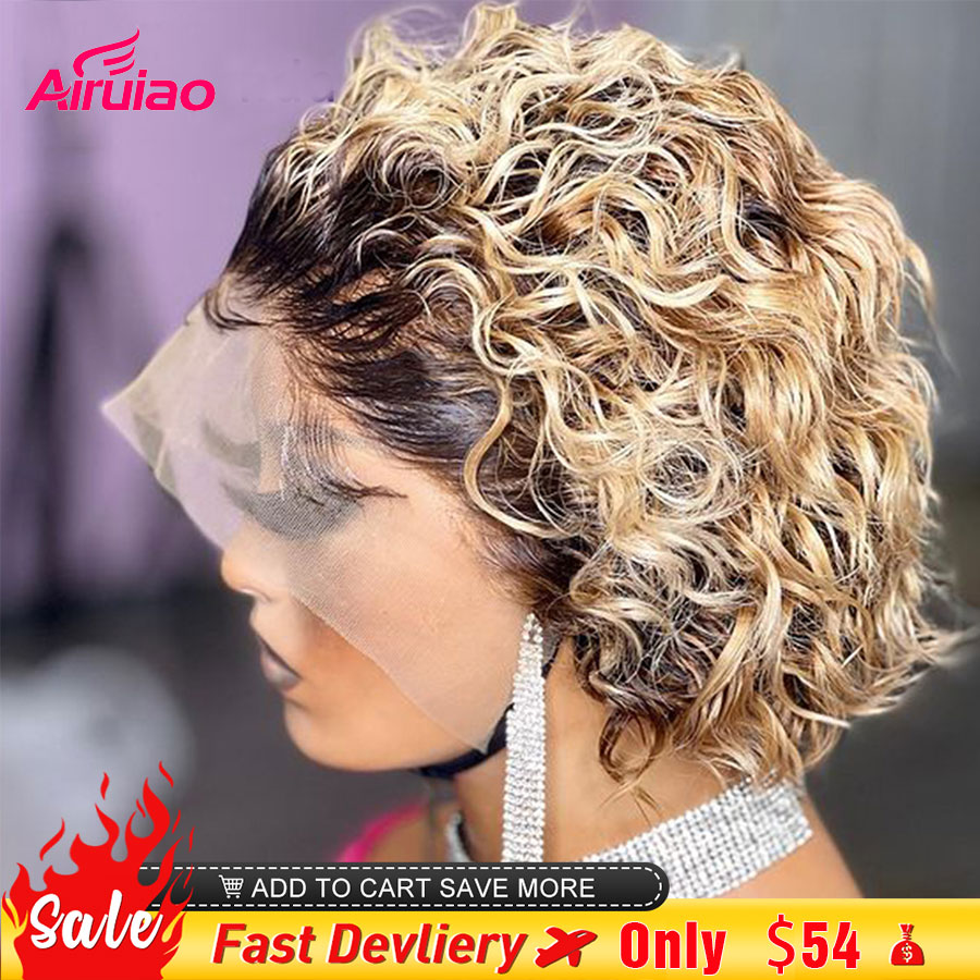 Ombre Honey Blonde Pixie Cut Bob Lace Frontal Human Hair Wigs Short Kinky Curly Colored Pre Plucked Woman Lace Front Bob 13x1