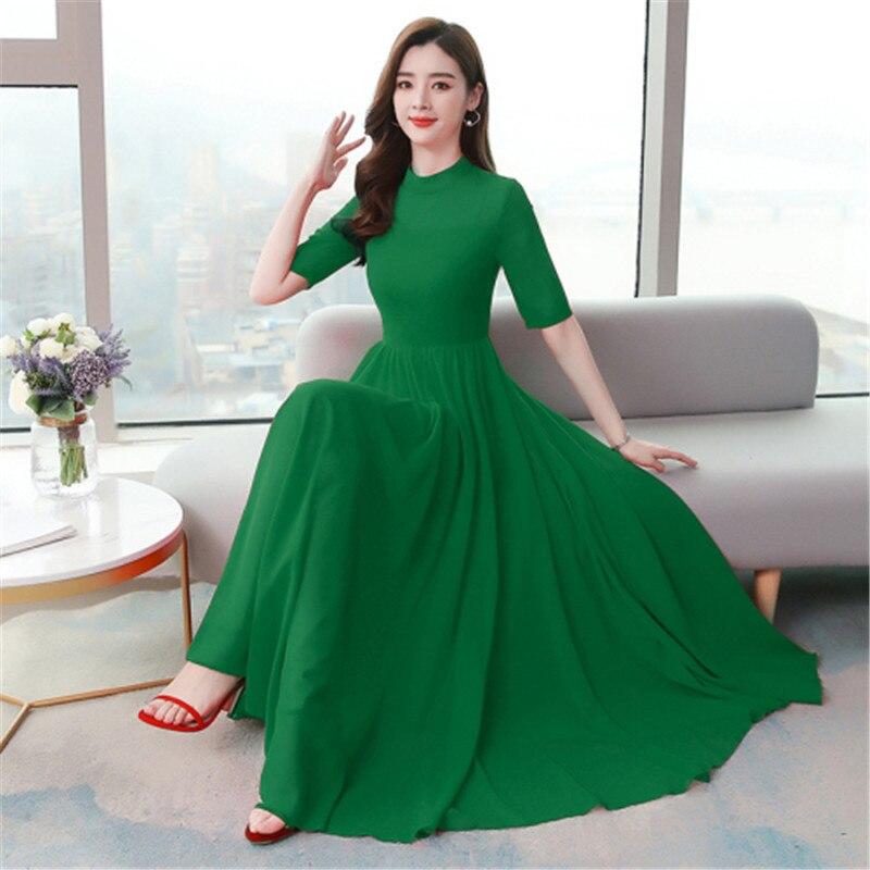 فستان صيفي بأكمام قصيرة ، فستان ريترو جديد بياقة عالية ، لون سادة ، خصر نحيف وكبير ، شيفون متأرجح ، 2020