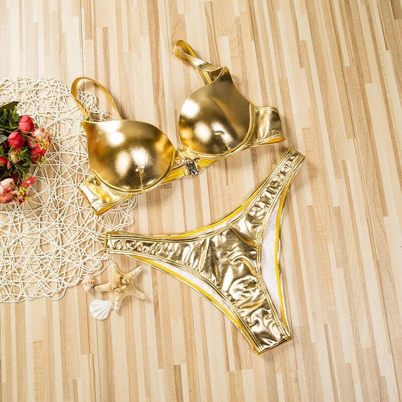 ¡Novedad! conjunto de Bikini Push-Up con reborde de piel sintética brillante para mujer, traje de baño para la playa, traje de baño de verano