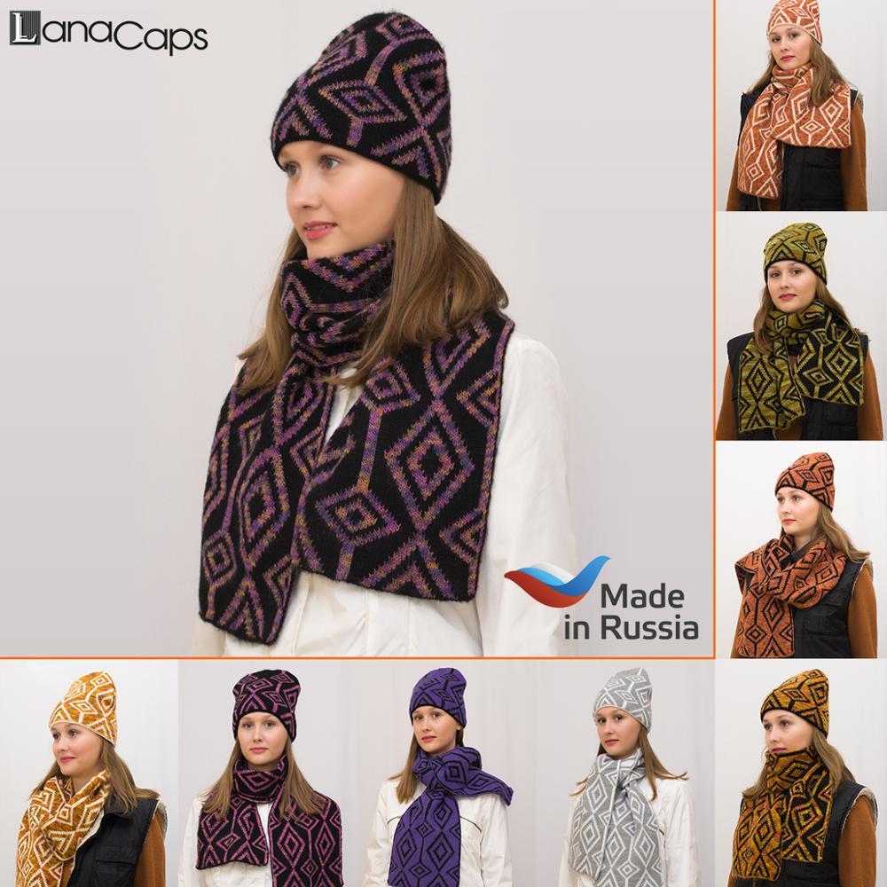 Women's hat + scarf winter set Azalea lanacaps wool 50% mohair 30%, acrylic 20%, lining: double layer. Set for women