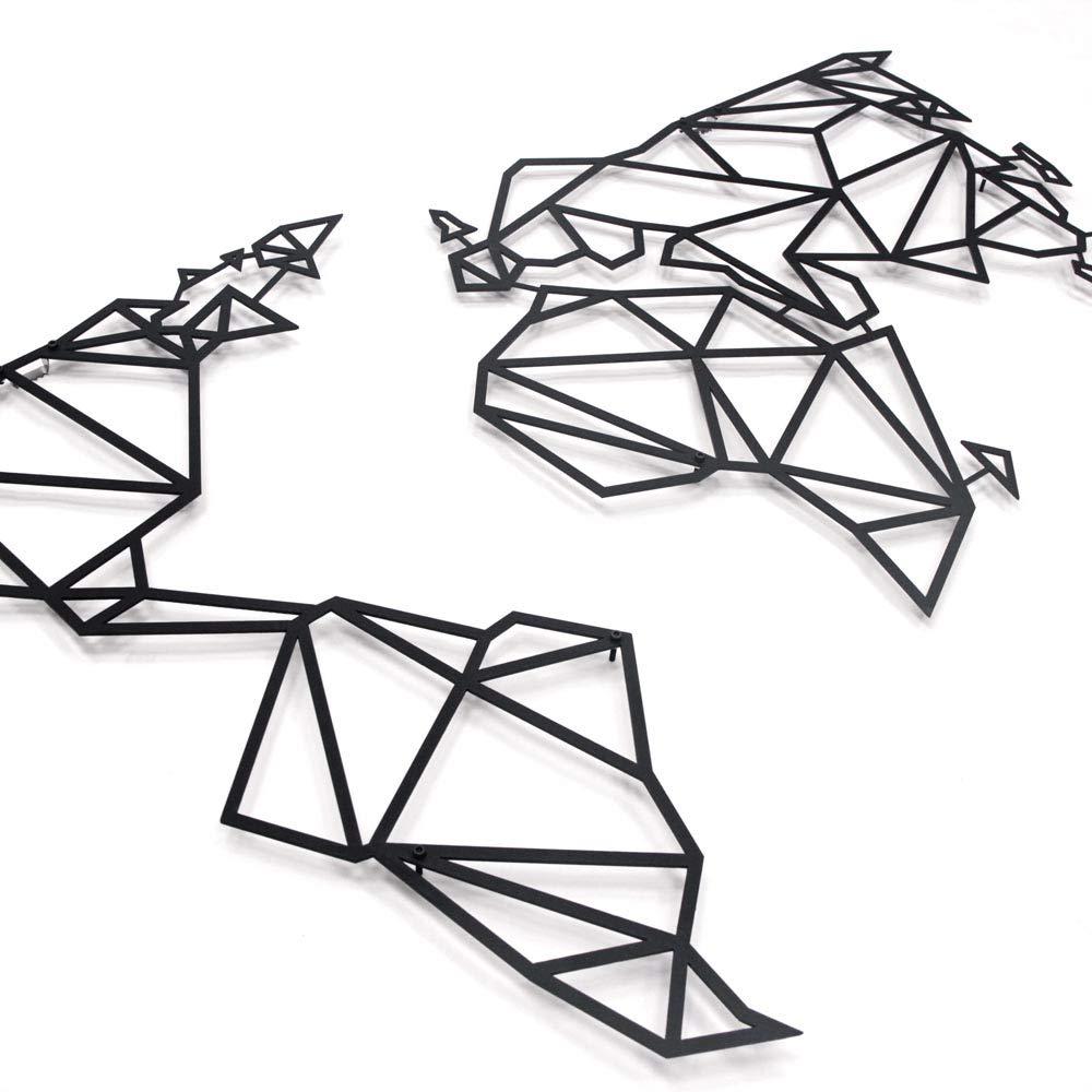 Arte de pared de Metal Antdecor, mapa del mundo y decoración de pared temática geométrica del mundo 96x60cm 38 pulgadas X 27 pulgadas
