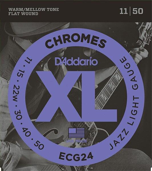 Ecg24 cromos plano enrollado conjunto de cuerda para guitarra eléctrica, jazz light, 11-50, DAddario