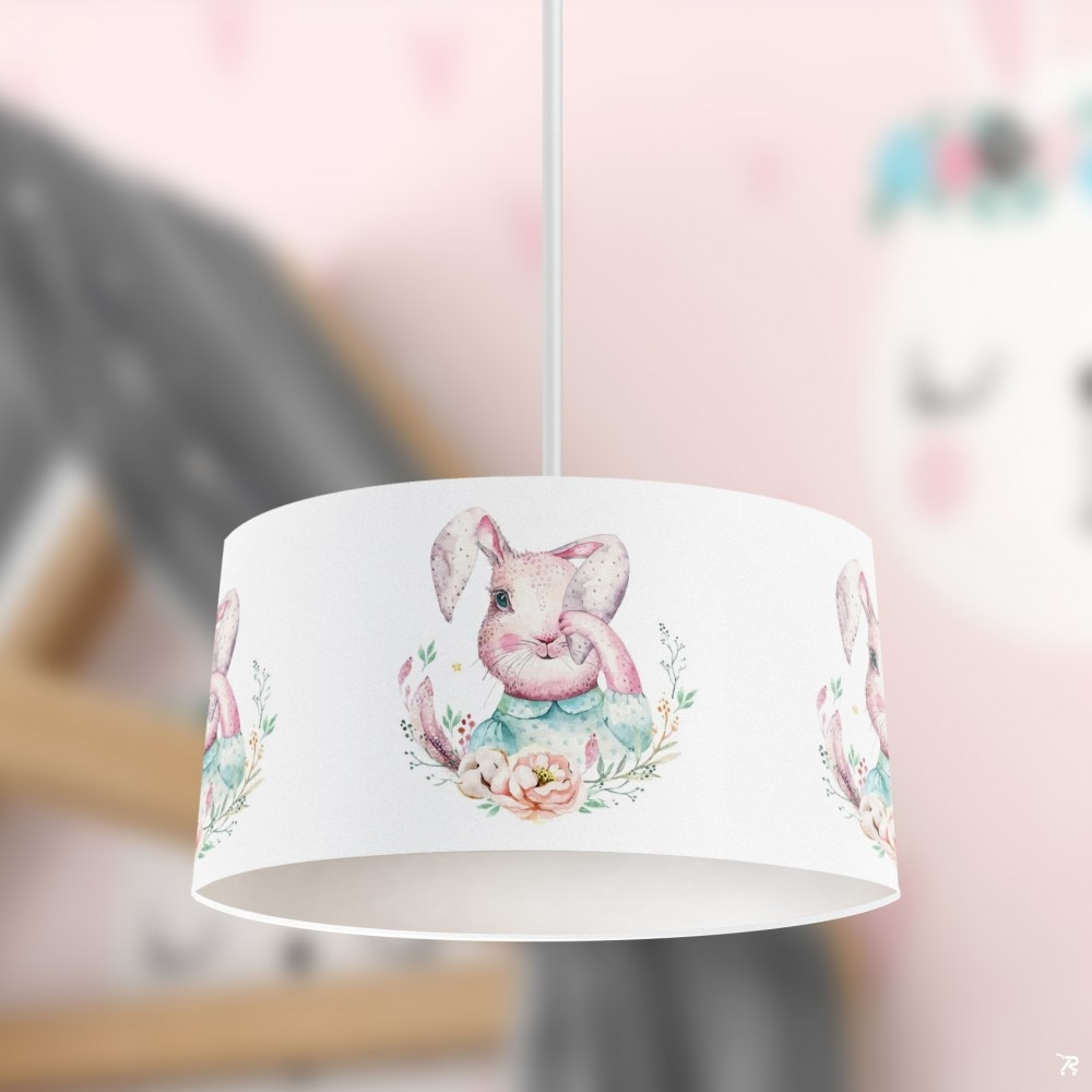 الوردي الأرنب الطفل الصبي الطباعة منقوشة الاطفال غرفة نوم الطفل ضوء قلادة مصباح الثريا