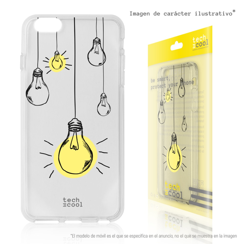 FunnyTech® Funda Silicona para Motorola Moto G7 Power l Bombillas colgantes transparente