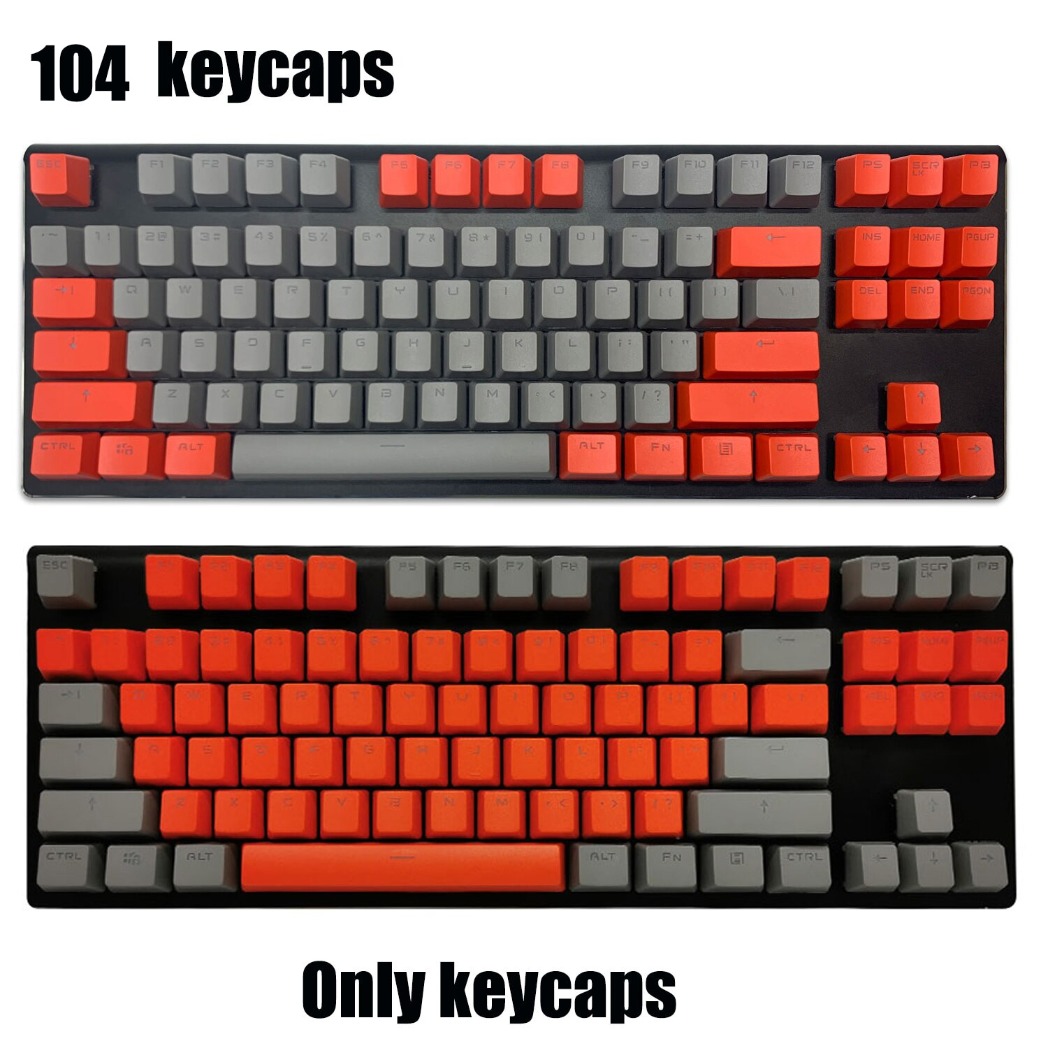 104-Key PBT Keycaps Dye Sublimation for 61/87/104 keys Mechanical & Optical Gaming Keyboard Double Color Backlight Keycap