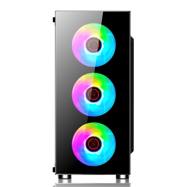 Performax Xenom 4 Fan Computer Case Led Glass and Windowed PC Case 4x Rainbow Fan Atx Case Mega Computer Set 6