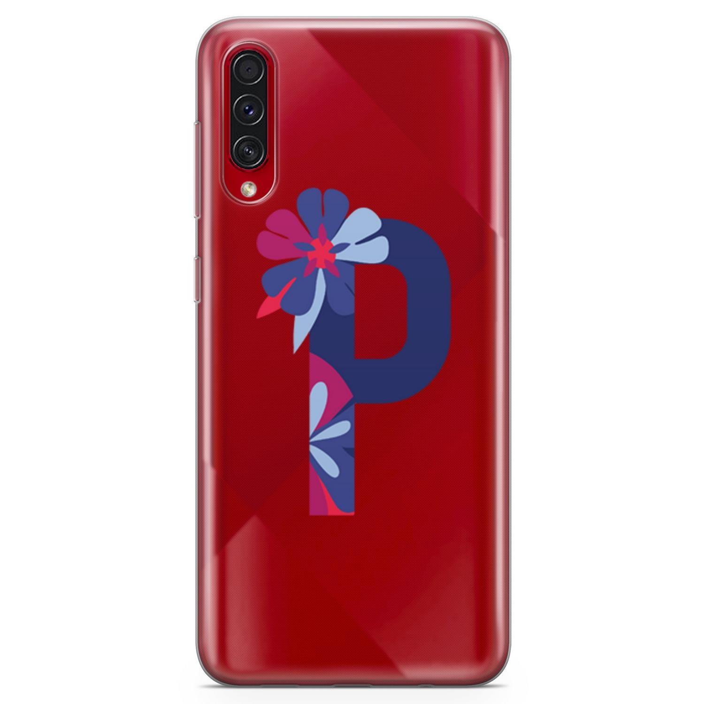 Funda Lopard para Samsung Galaxy A70s, funda protectora de silicona, funda trasera con estampado Floral y letra P