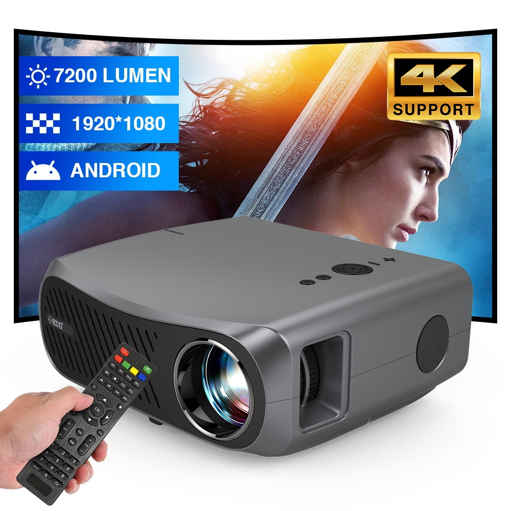 900DAB Video Projector 4K Android 6.0 7200 Lumens WIFI Bluteeth 1080P Beamer Home CinemaTheater Proj