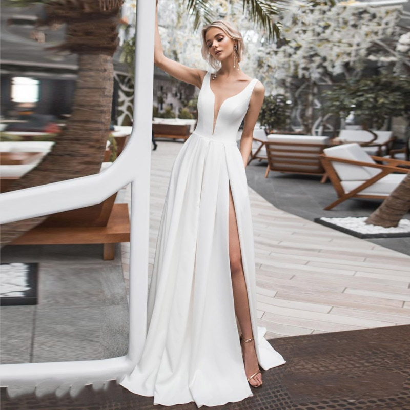 Review Simple Sexy High Slit Wedding Guest Bride Dress Double V-Neck Crepe Satin Minimalist Bridal Gown Cheap Custom Made Plus Size