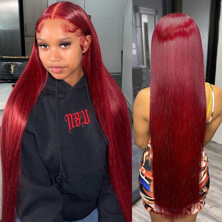 99j Burgundy Lace Front Wig Bob Brazilian For Women 30 Inch Pre Plucked Red Colored Hd Transparent Bone Straight Human Hair Wigs
