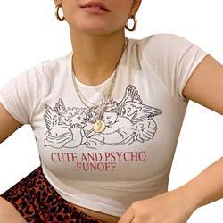 Camiseta de malha de malha branca harakuju recortada de manga curta sheer magro sexy senhoras o pescoço