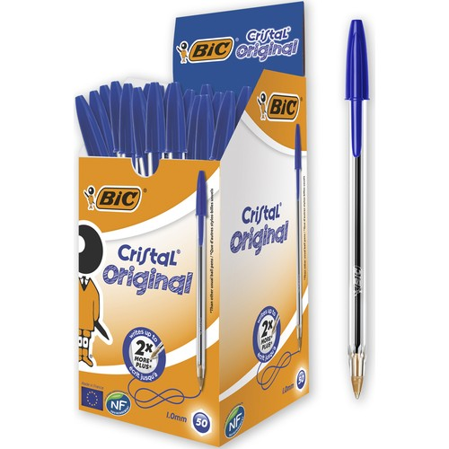 Bic-Bolígrafo de Cristal azul medio, papelería, suministros escolares, oficina, envío gratis, 50...