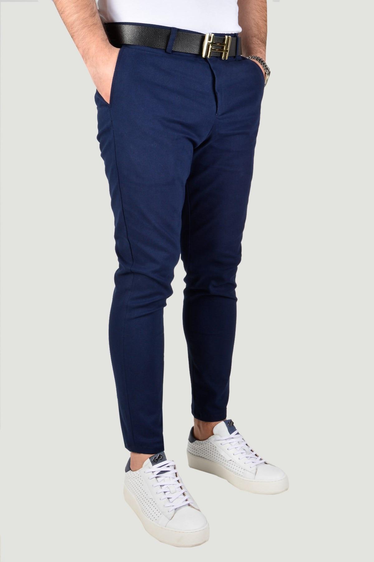 Мужские льняные брюки 9Y-2200189-008 темно-синие