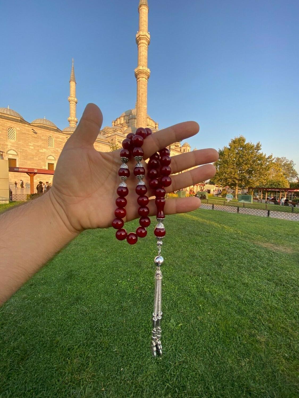 Ottoman Faturan German Amber Sandalous Misbaha Prayer Beads Islamic Gift Tasbih Tasbeeh Tasbeh Rosary Tasbih # 19B