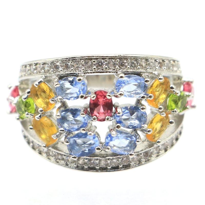 23x15mm peridoto creado multicolor cuarzo granate tanzanita CZ regalo para anillos de compromiso de plata