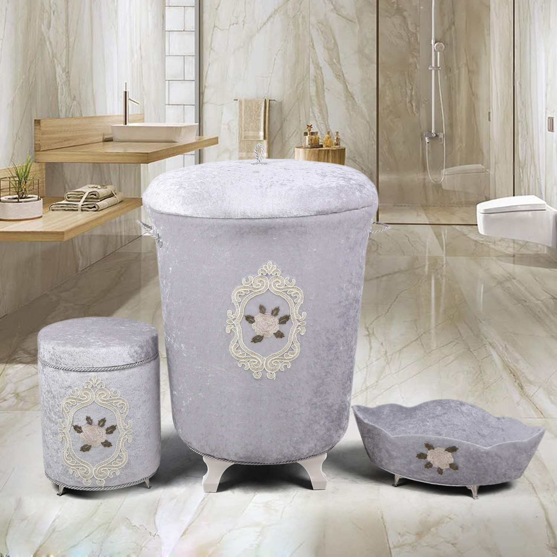 بوني المنزل شيمز رمادي 3 قطع سلة الغسيل مجموعة منشفة حامل صندوق المنظفات المنظم القذرة صندوق تخزين ملابس