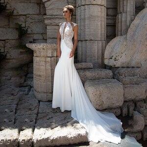 O-Neck Cutout Side Lace Mermaid Sleeveless Wedding Dress Champagne/White Sexy Trumpet Bridal Dress vestido noiva