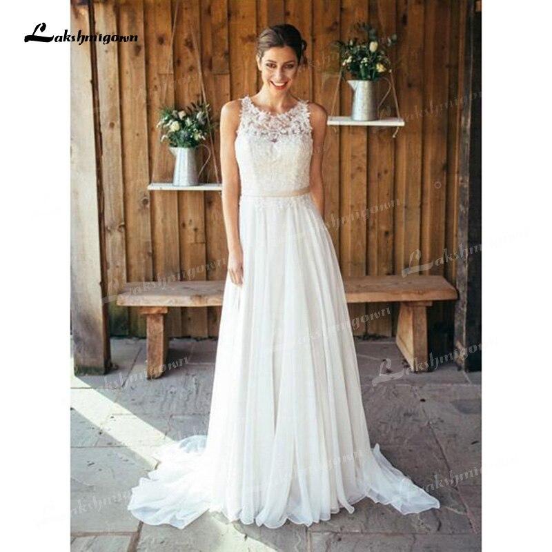 Vestido de novia de encaje de gasa, sin mangas, hombros descubiertos, ilusión,...