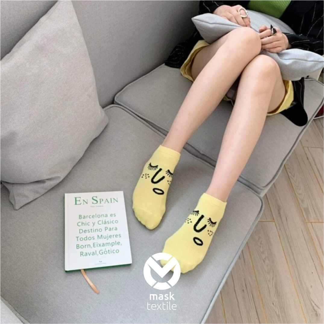 MOS Women Cotton Socks 10 pairs / 20 pcs Comfortable Smiling Face funny Socks Colorful Slippers Short Ankle Socks