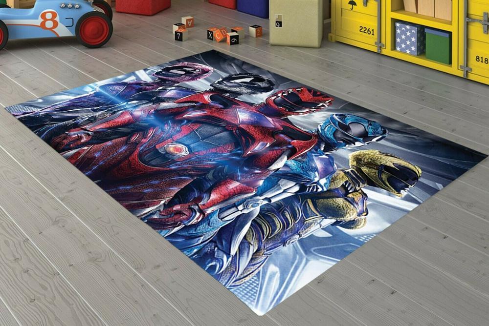 Power Rangers-سجادة أرضية مزخرفة وغير قابلة للانزلاق ، إكسسوار تركي للمراهقين