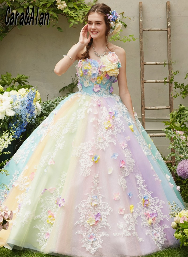 Vestidos Pastel arcoíris para boda, sin tirantes, 3D, apliques florales, línea A,...