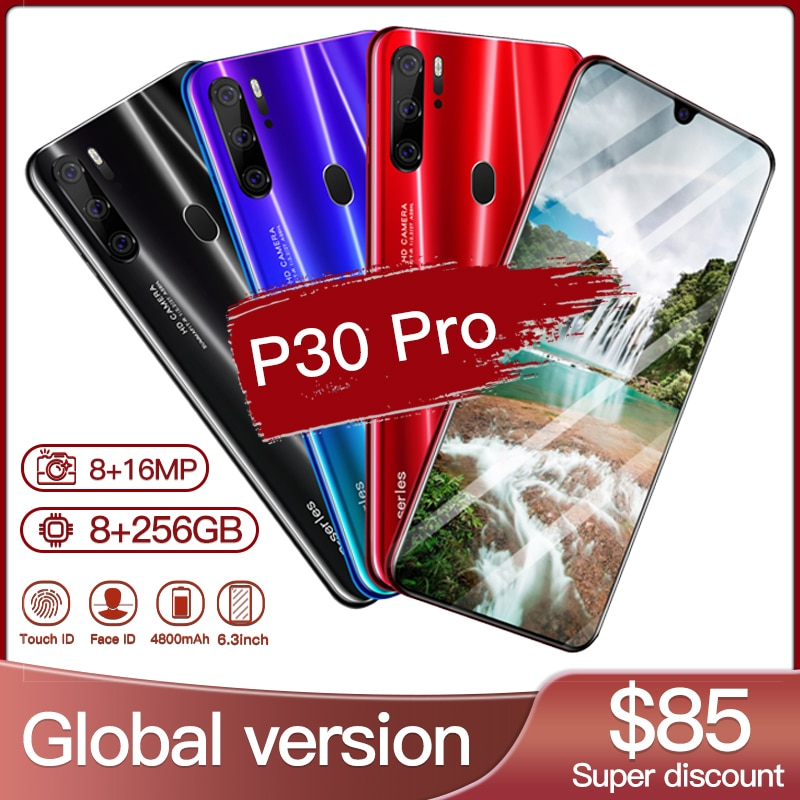 Smart phone Hawei P30 Pro 8GB 256GB 5G Smartphone 6.3 inch MTK 6595 10 core 4g network Mobile Phones