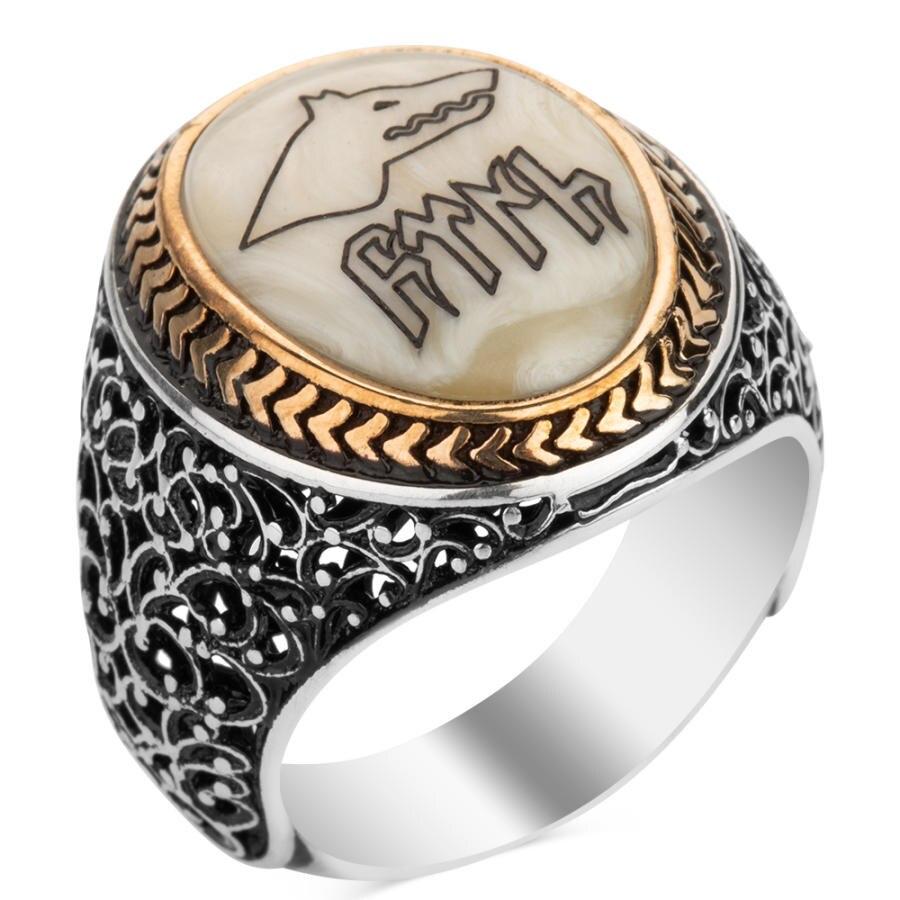 Vintage feito à mão prata lobo gokturkish carta motivo masculino sedef anel otomano estilo turco acessórios masculino para presentes