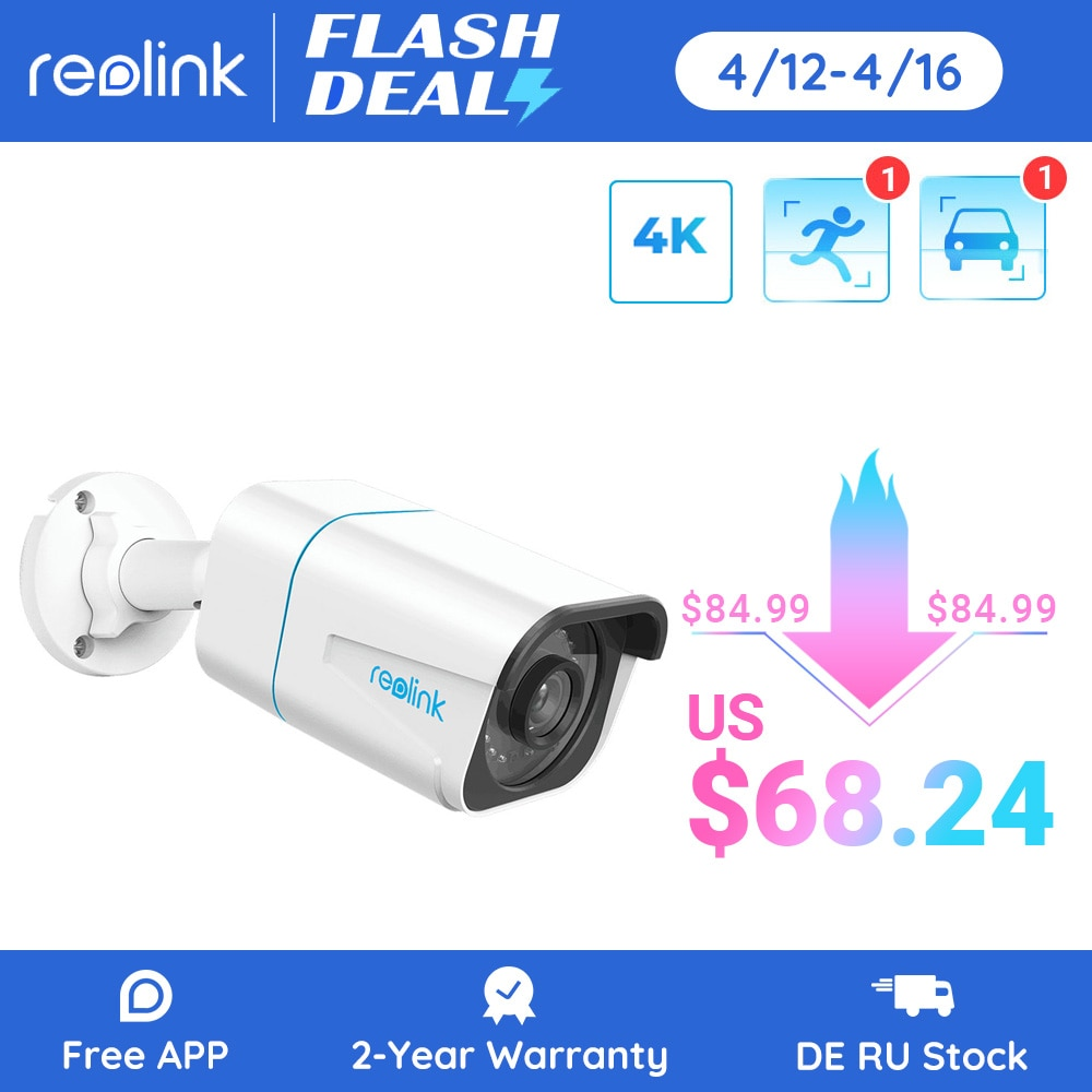 Reolink Smart IP Camera 4K 8MP PoE Outdoor Infrared Night Vision Bullet Camera Featured with Person/