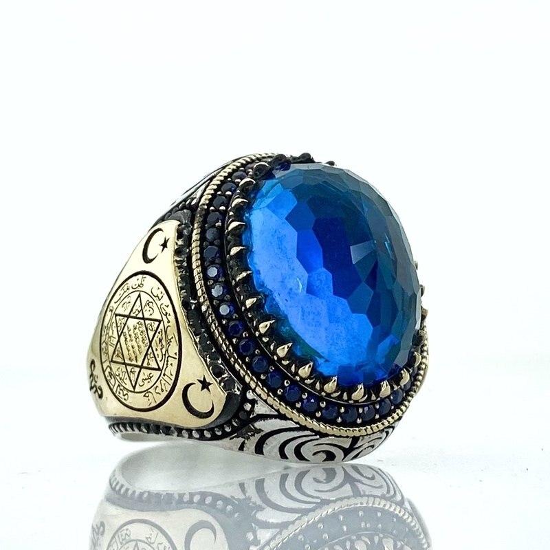 Anillo de Estrella de Plata zafiro Topacio Azul piedra sello de Solomon David